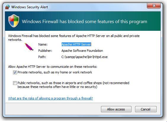 XAMPP Installation - Windows Warning